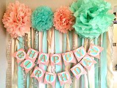 Banner de feliz cumpleaños de menta rosa y oro por Everydayinc