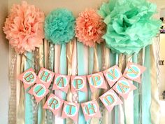 Mint Pink & Gold Happy Birthday Banner by Everydayinc on Etsy