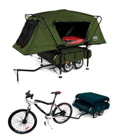 Camper Trailer with Oversize Tent Cot Innovative bicycle camper trailer . I got to have thisInnovative bicycle camper trailer . Camping Near Me, Camping Glamping, Camping Ideas, Camping Hacks, Outdoor Camping, Camping Supplies, Camping Life, Outdoor Gear, Kombi Motorhome