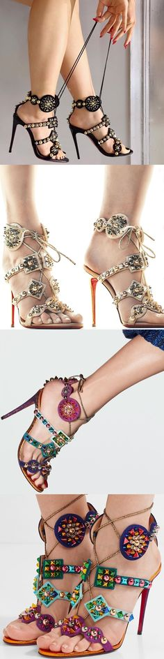Christian Louboutin's Spiked Suede and Lamé Leather 'Kaleikita' Sandals