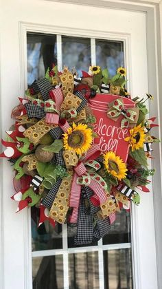 Wreaths And Garlands, Deco Mesh Wreaths, Wreath Ideas, Diy Wreath, Summer Wreath, 4th Of July Wreath, Wreaths For Front Door, Front Porch, Porch Decorating