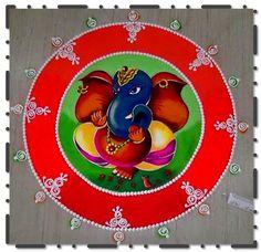 Ganesha Rangoli Design with colors