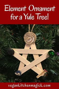 Make this five elements pentagram ornament for your Yule tree! Christmas Books For Kids, Christmas Time, Pagan Christmas Tree, Christmas Stuff, Yule Crafts, Holiday Crafts, Wiccan Crafts, Holiday Ideas, Yule Decorations
