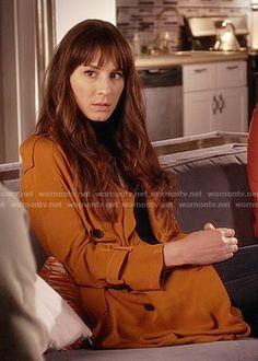 Spencer's orange trench coat on Pretty Little Liars. Outfit Details: https://wornontv.net/58475/ #PLL
