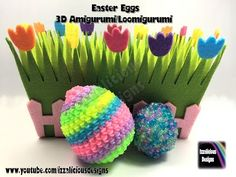 Rainbow Loom 3D Easter Egg - Amigurumi/Loomigurumi, Crochet Hook Only/Loom-less (loomless)