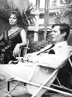 "missavagardner:  "" Sophia Loren & Marcello Mastroianni on the set of 'Ieri, Oggi e Domani', Rome, 1963.  """
