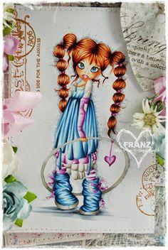 Copic Marker Europe: Hoola Hoop Love.  Skin:  E0000-E000-E00-E11-E13 +R20 for cheec\ks; Hair:  E00-E13-E15-E18; Eyes: B91-B95; Lips:  R20-R81-R83-R85; Outfit: White: W1-W3-W5 Violet: V000-V1-V4-V6 Blue: B0000-B91-B93-B95-B97-B99 Floor:  0-C1-C3-C5 Background:  W1-W3-W5