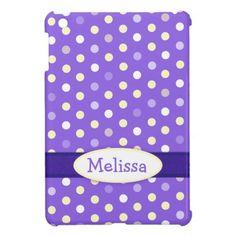 Purple white polka dot name girls ipad mini case. Designed by www.sarahtrett.com