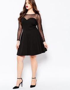 Plus Size Mesh Detail Skater Dress