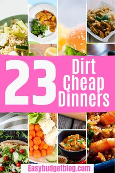 Sometimes we need to make big cuts to the grocery budget so we can make ends meet or hit big financial goals. But don't stress, there are so many delicious, simple, and filling meals you can make that cost less than $5 for the whole family! These dirt cheap dinners are going to save you hundreds of dollars on groceries and can help you get through the times when money is tight. #dirtcheapmeals #dirtcheapdinners #dirtcheapmealsdinners #dirtcheaphealthymeals Quick Lunch Recipes, Pork Recipes For Dinner, Family Recipes, Delicious Recipes, Inexpensive Meals, Cheap Dinners, Large Family Meals, Dirt Cheap, Easy Meal Prep