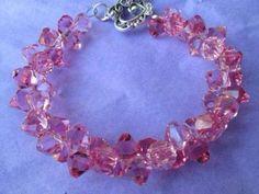 Swarovski Crystal Bracelet Pink Handmade FREE SHIPPING