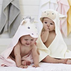 Lil' Lamb & Lil' Unicorn   shop hooded towels at spearmintLOVE.com