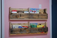 Thrifty bookcases made from pallets.