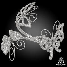 VAN CLEEF & ARPELS Diamond Butterfly Bangle - Yafa Signed Jewels Van Cleef Arpels, Bangle Bracelets, Bangles, Butterfly Bracelet, Sapphire Bracelet, White Gold Diamonds, Stone Jewelry, Jewels, Gems