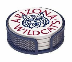 Absorbent Coaster Gift Set University of Arizona - Coordinating Holder Included by Thirstycoasters. $14.99. Each coaster measures 4.5 inches in diameter with cork backing. Collegiate Licensed Coasters printed in the U.S.A. (no decals). Cleans easily with mild liquid detergent and water. Packaged in a wire mesh coaster holder in complimentary school color. 4 stone coasters per set with the same design. Sweaty glasses leaving rings on your furniture or desktop? Are...