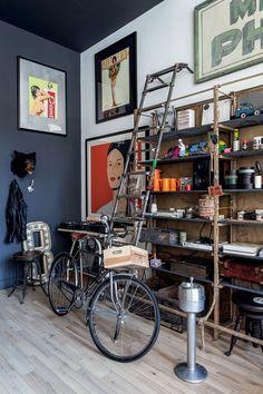 Régi könyvespolc loft design inspiráció