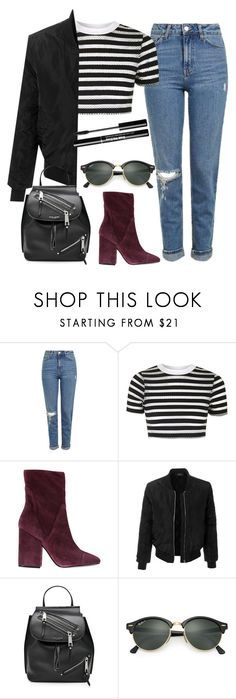 """""""Untitled #44"""" by hihix9 ❤ liked on Polyvore featuring Topshop, Kendall + Kylie, LE3NO, Marc Jacobs and Ray-Ban"""