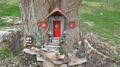 Great surprize for granddaughters to find a fairy had moved into the back yard trees.