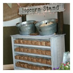 Perfective alternative to the candy or sweet cart Creative Raisins: Shabby Chic Wedding ~ Popcorn Stand. Love the idea of putting food on top and serving dishes/trays/bags inside a cabinet. Popcorn Stand, Popcorn Bar, Vegan Popcorn, Our Wedding, Dream Wedding, Trendy Wedding, Wedding Tips, Wedding Reception, Reception Food