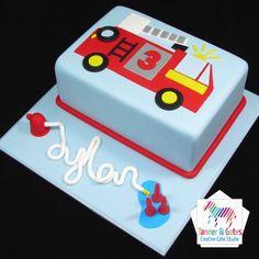 Twin Birthday Cakes, Truck Birthday Cakes, Truck Cakes, 3rd Birthday, Fire Engine Cake, Fireman Cake, Cakes For Boys, Creative Cakes, Fire Trucks