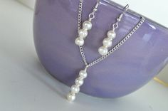 Wire Wrapped Freshwater Pearls Necklace and Earring by DebbieRenee, $44.00