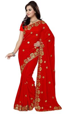 Redefine style with this scarlet color georgette embroidered sari. The lace and resham work on attire personifies the total appearance. #redcolorsari #fancysaris #embroideredsaree