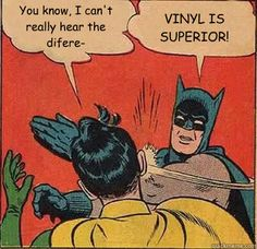 "Batman Tells Robin, ""They're All the Same"".....""VINYL IS SUPERIOR!!""  Funny Vintage Comic Book Art."