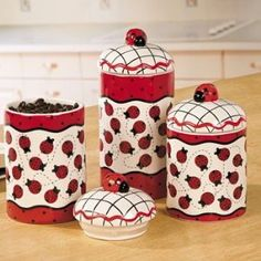 Use these painted ceramic canisters to hold snacks and ingredients or small kitchen necessities. Ladybug Canisters are a great way . Ladybug Picnic, Ladybug Party, Ladybug House, Lady Bug, Ladybug Crafts, Kitchen Canister Sets, Love Bugs, Decoupage, Kitchen Decor
