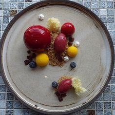 Today's dessert Strawberry  Blueberry  Verbena  Chocolate  Almond  Awesome plate by @vastergarden #västergården #dessertmasters #pastryelite #gastroart #theartofplating #pastrychef #pasteleria #pattiserie #dessert #gourmetartistry by pastrybydaniel