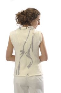 Vest #3   Description:  Felted merino wool and silk chiffon tailored vest  Dimensions:  H:1.00 x W:1.00 x D:1.00 Inches