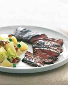 balsamic-marinated skirt steak. balsamic vinegar, brown sugar, minced garlic, dried rosemary, salt, pepper, and skirt steak.