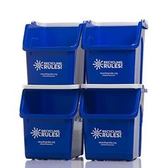 Blue Stackable Recycling Bin Container with Handle 6 Gallon - 4 Pack of Bins