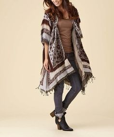 Another great find on #zulily! Brown & Cream Stripe Cape-Sleeve Open Cardigan #zulilyfinds