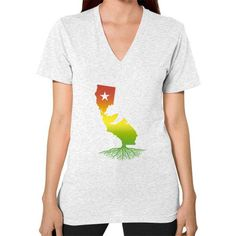 California Roots (Rasta surfer colors) V-Neck (on woman)
