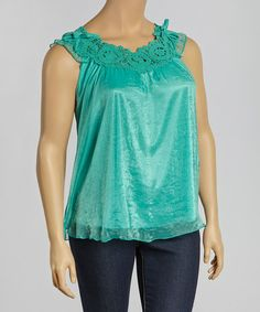 Love this Green Crochet Yoke Top - Plus by Simply Irresistible on #zulily! #zulilyfinds
