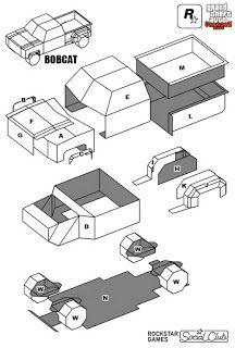 Sp Papel Modelismo Papercraft Bobcat Xl Gta V Paper Crafts Paper Model Car Paper Models