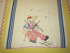 Vintage Embroidered Towel Gramps at the Fiddle by unclebunkstrunk, $27.99