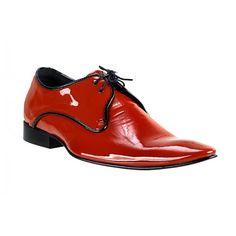 Pánske kožené extravagantné topánky červené PT063 - manozo.hu