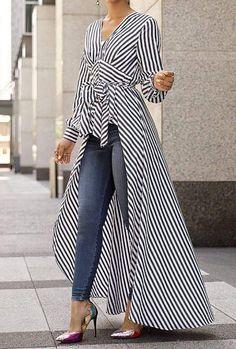 V-Neck Striped Tie Waist Dip Hem Irregular Blouse - Stylish Fashion Look Fashion, Hijab Fashion, Fashion Dresses, Womens Fashion, Fashion Design, Fashion Trends, Ladies Fashion, Maxi Dresses, Fashion Ideas