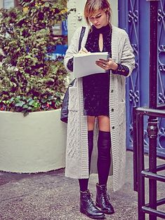 Thigh High Socks and Boots, Long Sweater and Summer Dress