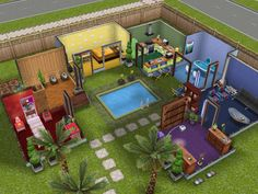 #SimsFreeplay rainbow house colors for each room.