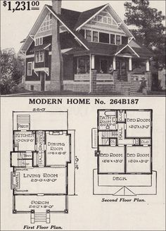 Half-timbered - Two-story - Craftsman-style Bungalow- 1916 Sears Modern Home 264B187