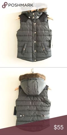 ✨SALE✨ NWT Sage Puffer Vest New with tags, super cute, sage puffer vest.  No flaws.  Fitted small that could also fit XS.  Only selling because it is too small for me.  Faux fur on hood.  Sherpa lining. Jackets & Coats Vests