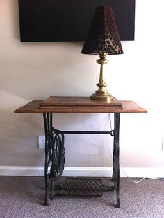 Repurposed Antique Treadle Sewing Machine End Table.
