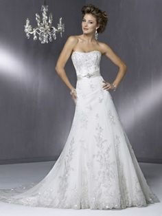 A-line Sweetheart Lace Sweep Train Sashes / Ribbons Wedding Dresses