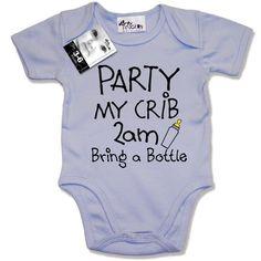Dirty Fingers, PARTY my crib 2am, Bring a Bottle, Baby Unisex Boy Girl Bodysuit