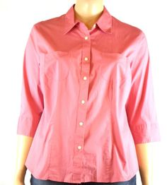 New  Covington Stretch Blouse Plus Size 20W Parade Pink 3/4 Sleeve Cotton Blend #Covington #Blouse #Casual