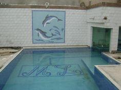 Conjunto de mosaico em pastilha de vidro.piscina,painel e sauna. Brasília - DF