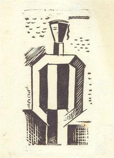 Josef Čapek (1887-1945), Námořník III. 1916-1917, linořez, 17 x 9 cm