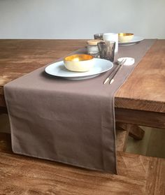 Neutrals are the new black - minimalistic cotton runner - A personal favourite from my Etsy shop https://www.etsy.com/uk/listing/158211329/brown-grey-linen-table-runner